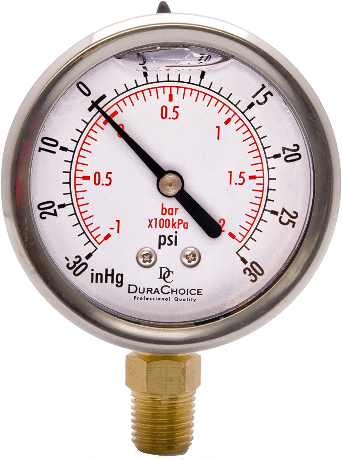 "2-1/2"" Oil Filled Vacuum Pressure Gauge, Water Oil Gas - Stainless Steel Case, Brass, 1/4"" NPT, Lower Mount Connection -30HG/30PSI"