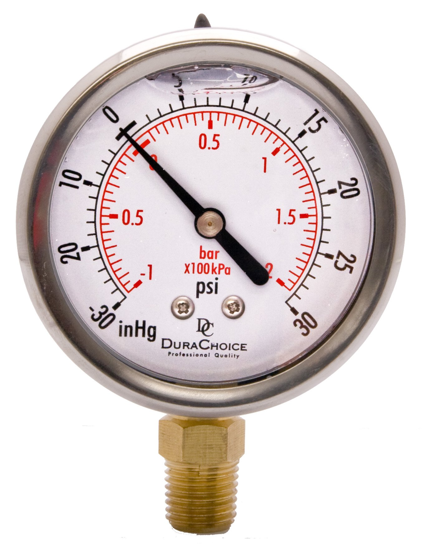 2-1/2'' Oil Filled Vacuum Pressure Gauge for air compressor water oil gas - Stainless Steel Case, Brass, 1/4'' NPT, Lower Mount Connection -30HG/30PSI