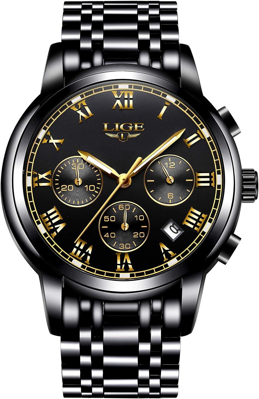 LIGE Relojes Hombre Acero Inoxidable Impermeable Deportes Analógico Cuarzo Reloj Negocios Cronógrafo Relojes Hombre