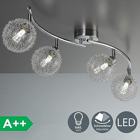 Lámpara de techo de barra con 4 x 3,5 W bolas de cristal, luz de techo moderna de metal incl 4 bombillas LED G9, Orientable y giratoria 230 V IP20 ...