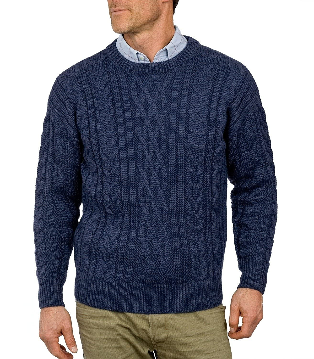 Men's Vintage Style Sweaters – 1920s to 1960s Wool Overs Mens Pure Wool Aran Sweater  AT vintagedancer.com