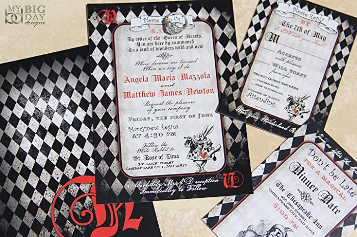 Amazoncom Alice in Wonderland Wedding Invitation Sample Set Handmade