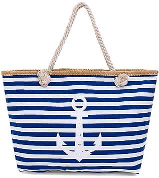 Faera Strandtasche Vintage Anker gestreift XXL Shopper Beach