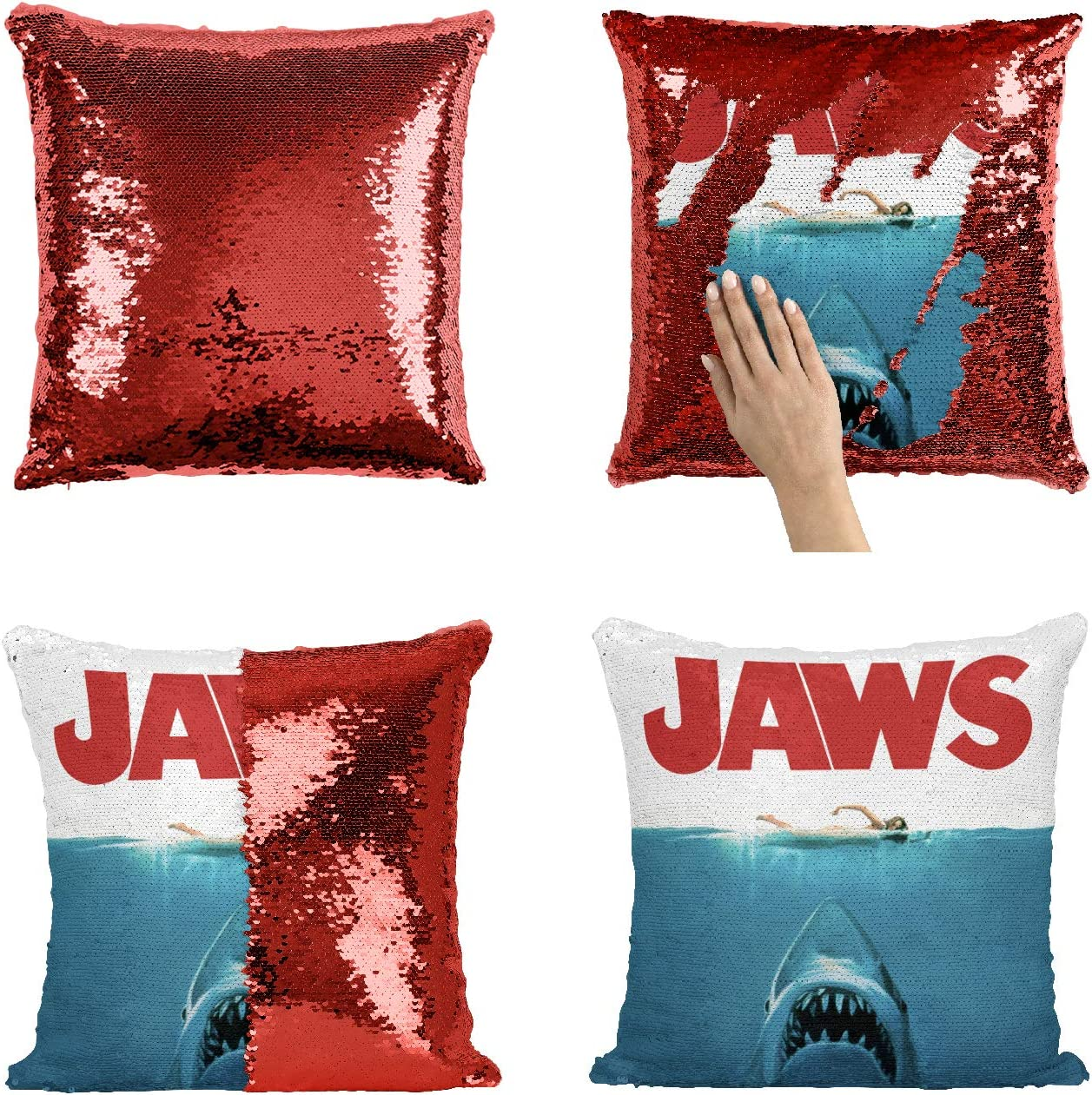 Jaws Swim Shark Sequin Pillow, Scales Reversible Funny Mermaid Pillow, Funny Meme Animation Pillow, Pillowcase Xmas, Birthday, Gift, Present (Cover + Insert)