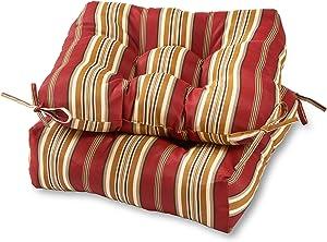 Greendale Home Fashions AZ6800S2-ROMASTRIPE Tuscan Stripe Outdoor Dining Seat Cushion (Set of 2)