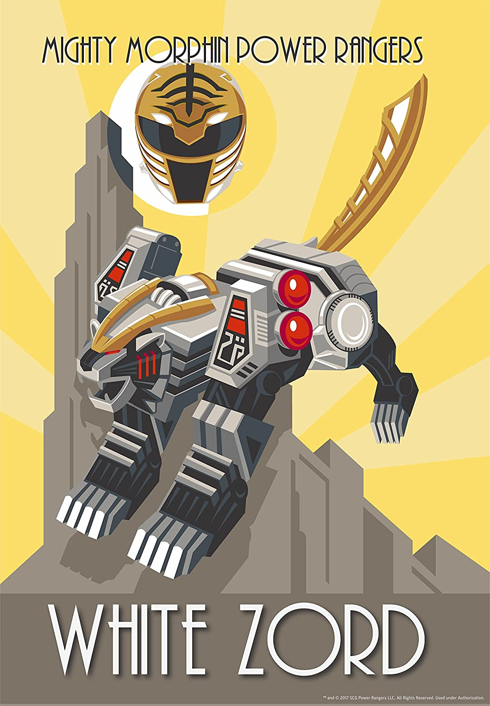 Amazon.com: Mighty Morphin Power Rangers White Zord Art Deco Poster ...
