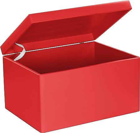 LAUBLUST Caja de madera con tapa – 40 x 30 x 24 cm, color rojo, FSC® multiusos, de madera, caja de almacenamiento y baúl para juguetes: Amazon.es: Hogar