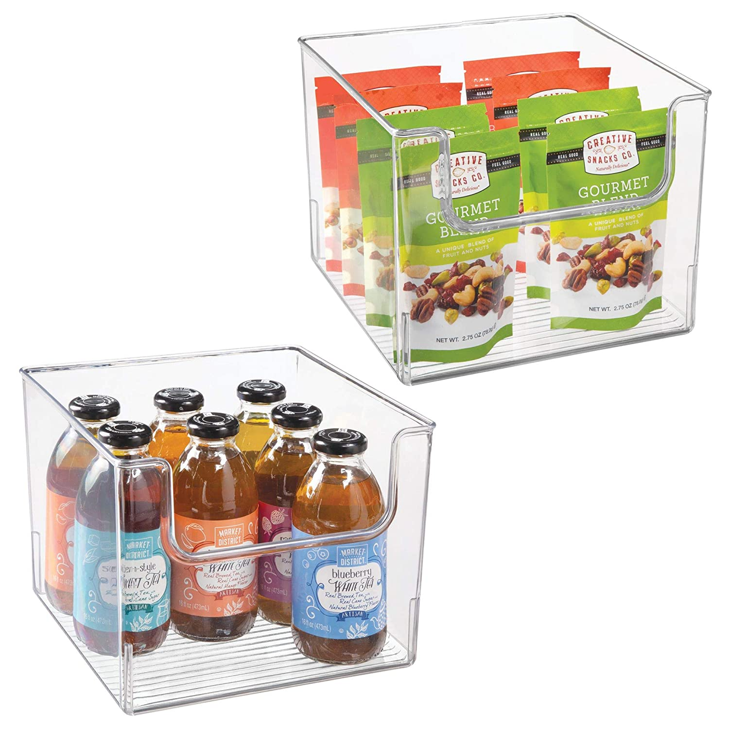 "mDesign Plastic Open Front Food Storage Bin for Kitchen Cabinet, Pantry, Shelf, Fridge/Freezer - Organizer for Fruit, Potatoes, Onions, Drinks, Snacks, Pasta - 10"" Wide, 2 Pack - Clear"