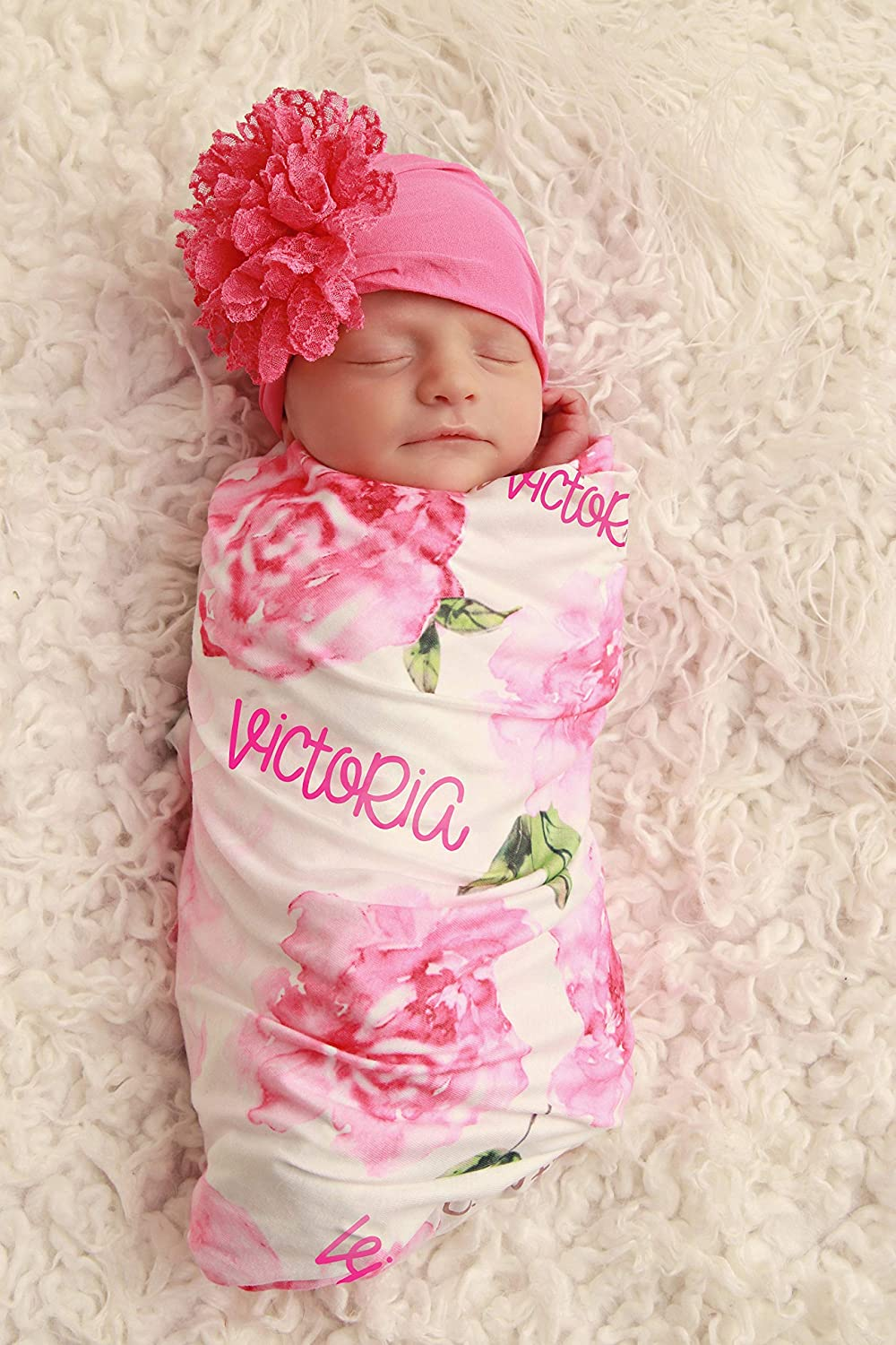 Personalized infant girl baby gown /& headband set custom monogram name