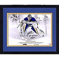 "$204 » Framed Jordan Binnington St. Louis Blues Autographed 11"" x 14"" First Stanley Cup Final Win Stylized Photograph with""1st SCF Win 5/29/19""…"