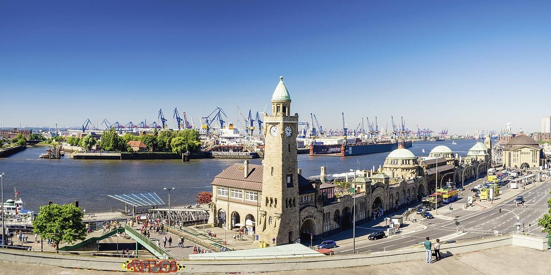 Artland Qualitätsbilder I Glasbilder Deko Glas Bilder 100 x 50 cm Städte Deutschland Hamburg Foto Natur C0FN Hamburg St Pauli Landungsbrücken