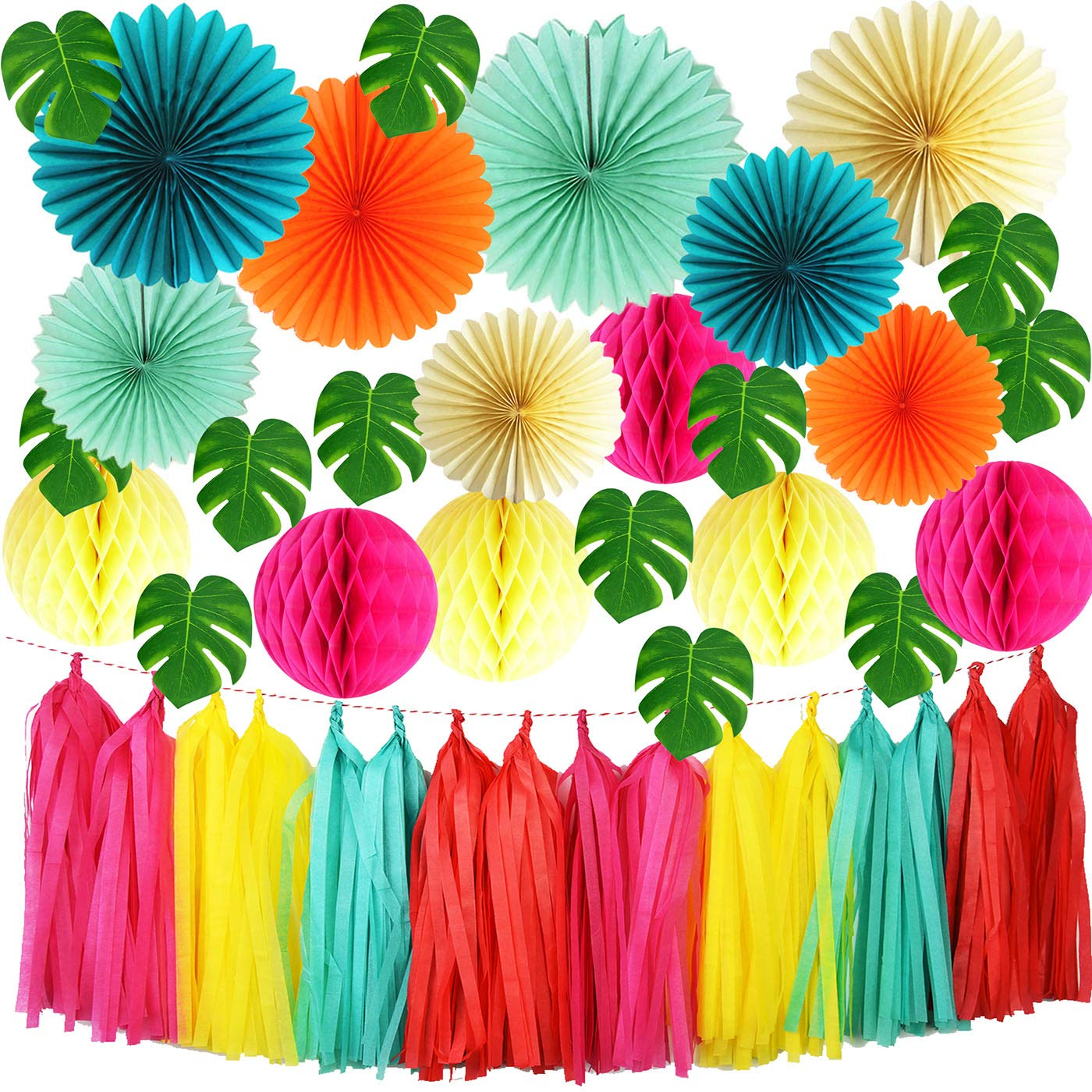 Qian's Party Tropical Party, Luau Party, Hawaiian Party Theme, Summer Party Tropical Palm Leaves, Flamingo Party Decorations, Pool Party, Birthday Party Decorations