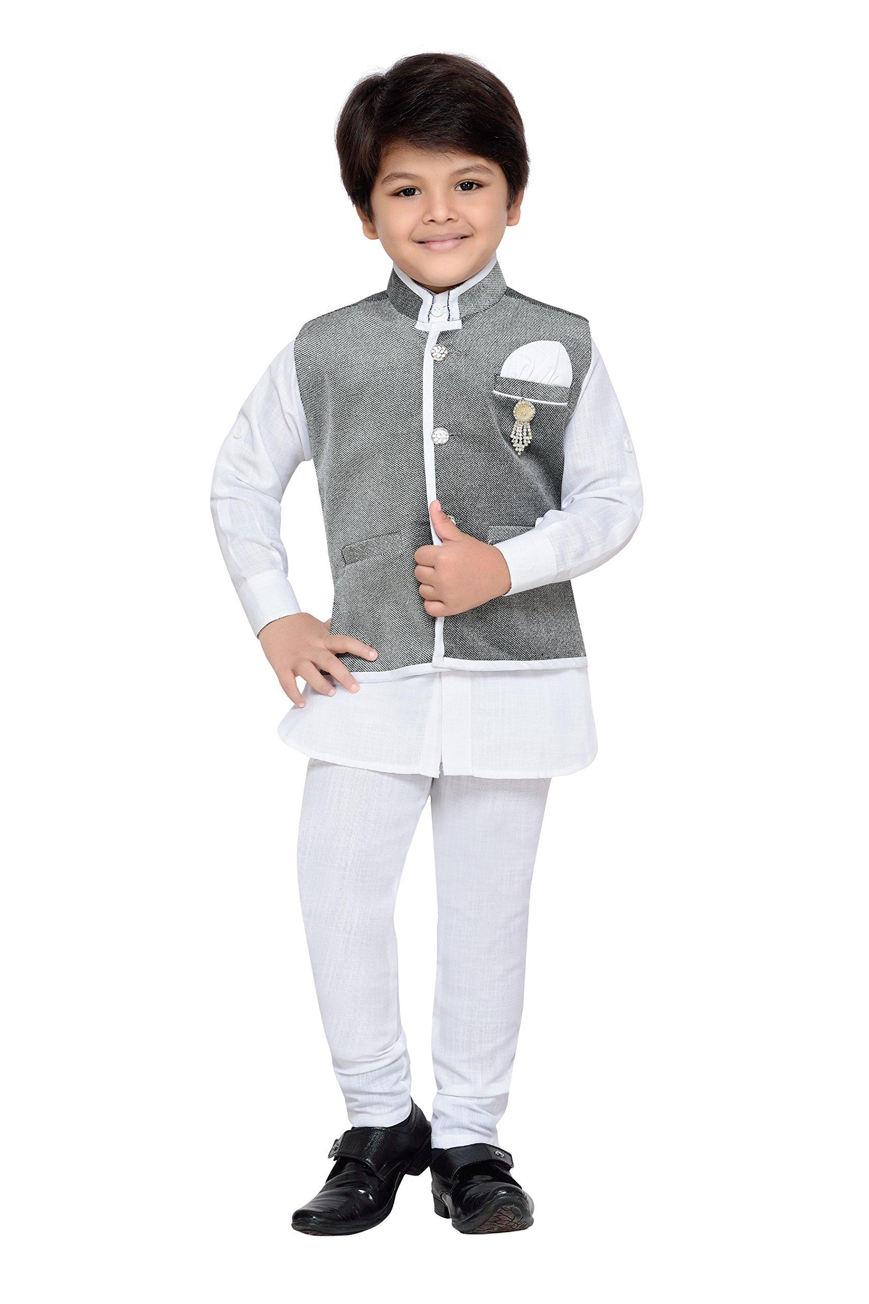 AJ Dezines Kids Indian Wear Bollywood Style Kurta Pyjama Waistcoat For Baby Boys (7004-GREY-1)