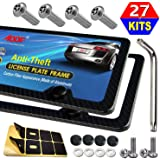 Aootf Carbon Fiber License Plate Frame- Anti Theft Car Tag Holder, 2 Pack Black Aluminum Bracket for Front Bumper and…