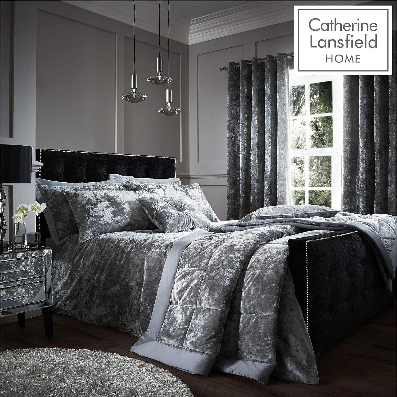 41f14f5767595 Catherine Lansfield Crushed Velvet Double Duvet Set Silver: Amazon.co.uk:  Kitchen & Home