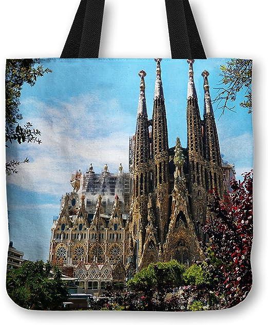 Bolsa bolso de mano Sagrada Familia Barcelona de la bandera de España - gramaje de algodón de gran calidad - para el hombro, bolsa de la compra, diseño de playa, School, maquillaje,