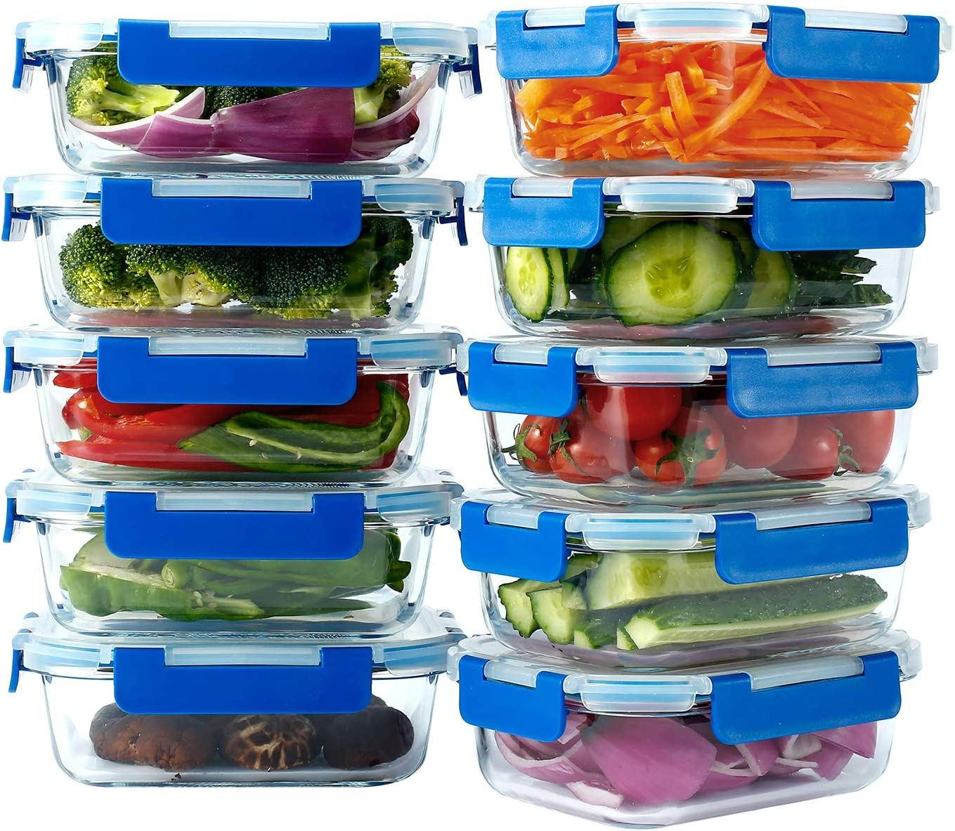 N / A LoveInLunchBox Pyrex Glass Storage containers with lids Meal prep Food Storage Stain and Odor Resistant Easily Stackable BPA-Free for Oven Microwave and Dishwasher Safe(28 Ounce 10 Pack)