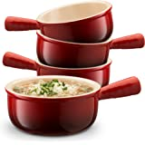 KooK Ceramic French Onion Soup Bowls With Handles, 12 Ounce - Set of 4