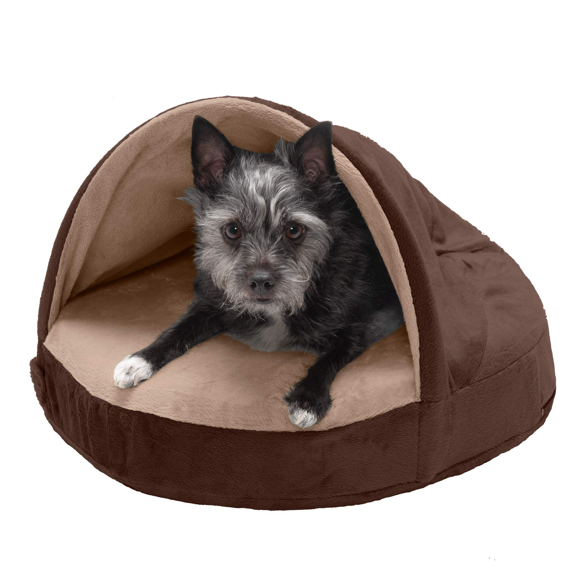 Furhaven Pet – Round Orthopedic Convertible Snuggery Burrowing Cave, Hooded Donut Bolster Bed, & Anti-Anxiety Wrap…