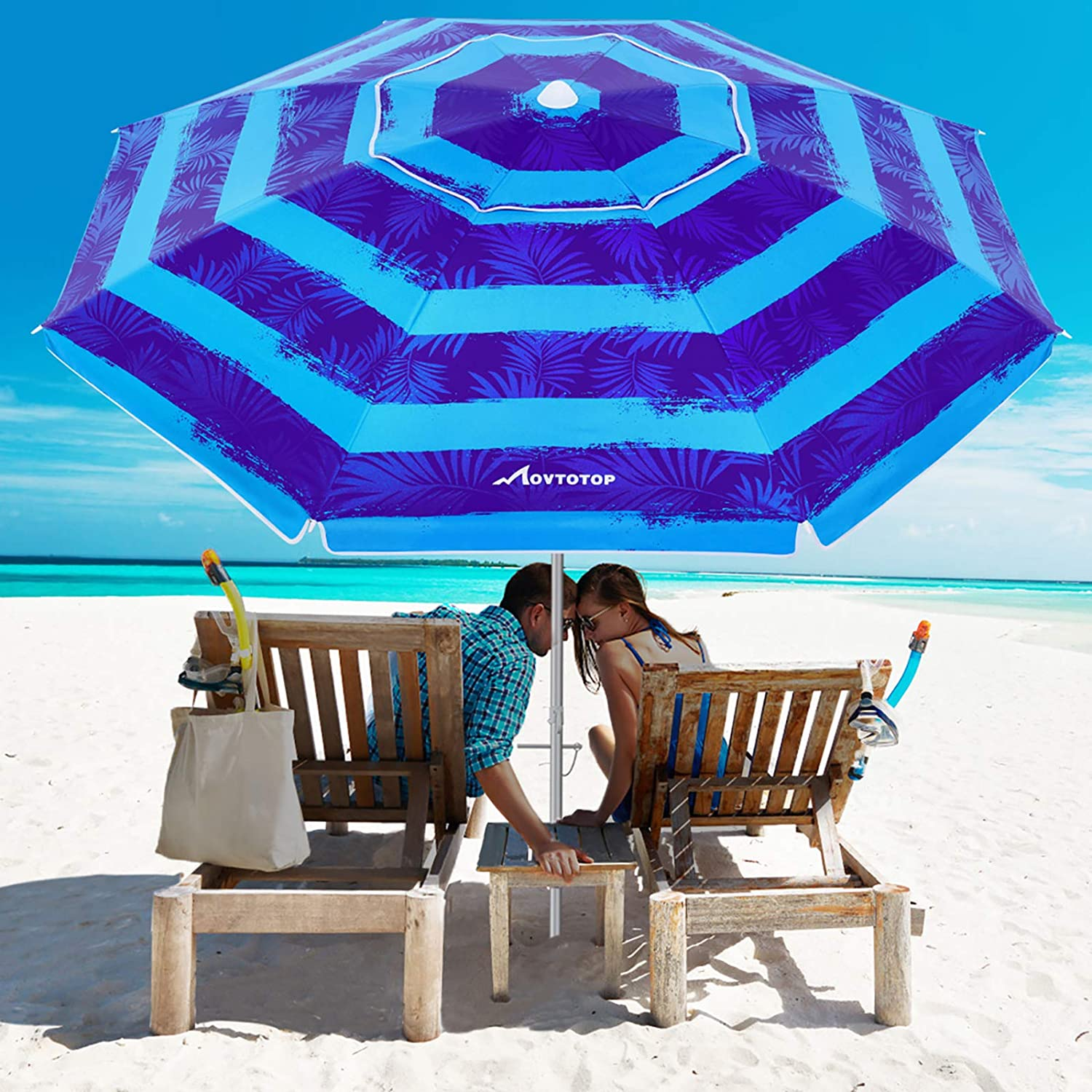MOVTOTOP Beach Umbrella 6.5ft Patio Umbrella with UV 50 Windproof Beach Umbrella with Portable Carry Bag for Outdoor Travel Protection Sand Anchor and Tiltable Aluminum Pole