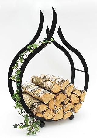 Support A Bois De Cheminee Dandibo Pour L Interieur Flamme Noire