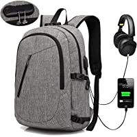 XQXA Laptop Backpack, Anti Theft Backpack with USB Charging Port and Headphone Jack Water Resistant School Rucksack 15.6 Inch PC Computer Bags for College, Work, Travel - Grey