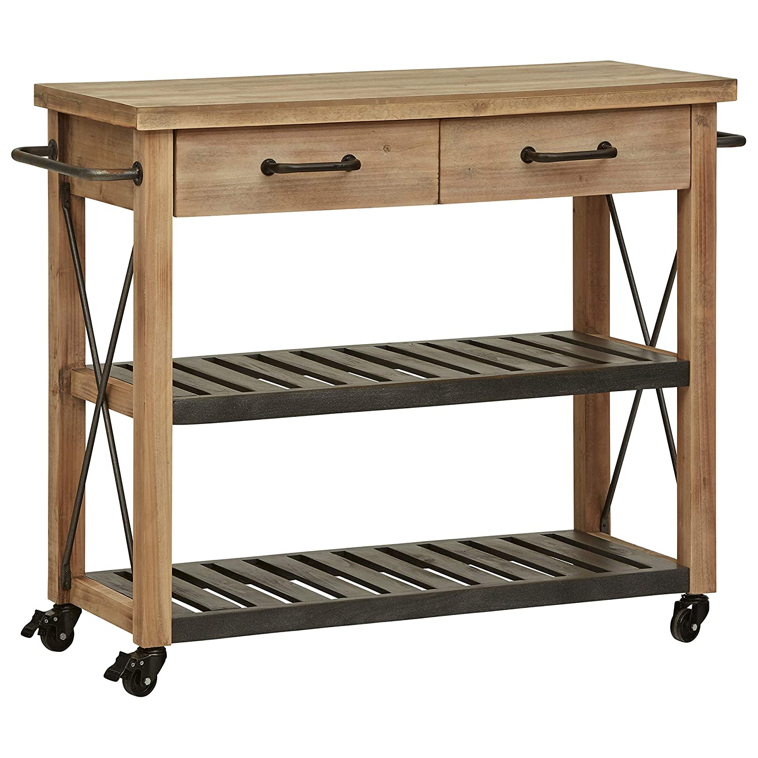 Natural Wood Finish Stone Beam Rustic Kitchen Island Butcher Block Buffet Cart With Wheels Home Kitchen Zuiverlucht Kitchen Dining Room Furniture