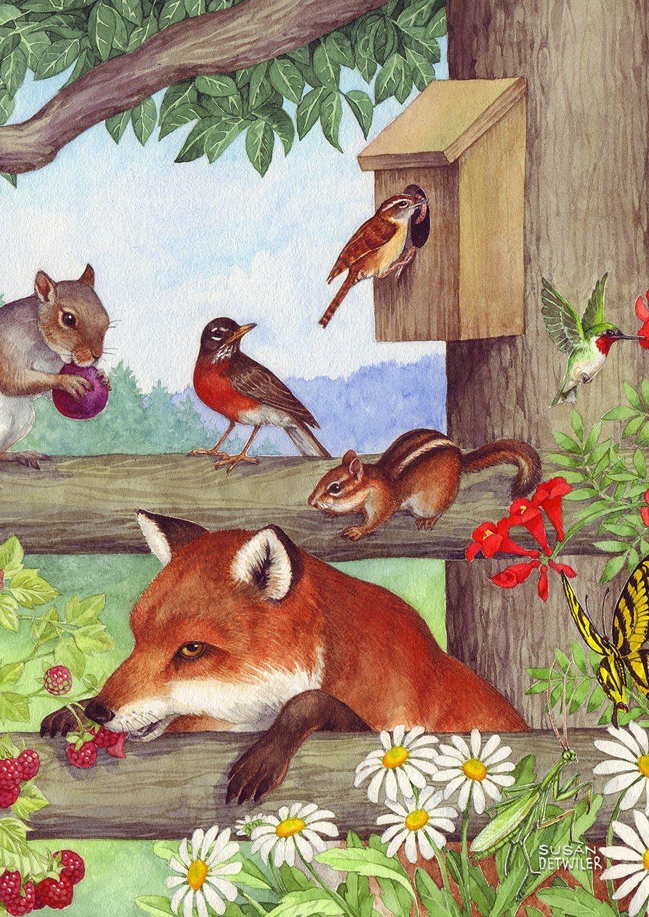 Toland Home Garden Fox and Friends 28 x 40 Inch Decorative Spring Woodland Birds Cute House Flag