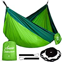 Camping Hammock with Tree Straps for Hiking, Backyard, Beach or Bush Camping - Strong Double Or Single Nifty Parachute Outdoor Swinging Mattress for Max. Comfort - Portable and Lightweight for Travel