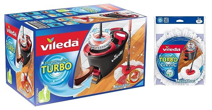 Vileda Turbo EASYWORLD Anillo y Clean, Juego Completo Cubo y fregona y extra Classic cabezal de repuesto, 1er Pack (1 x 3 unidades): Amazon.es: Salud y ...