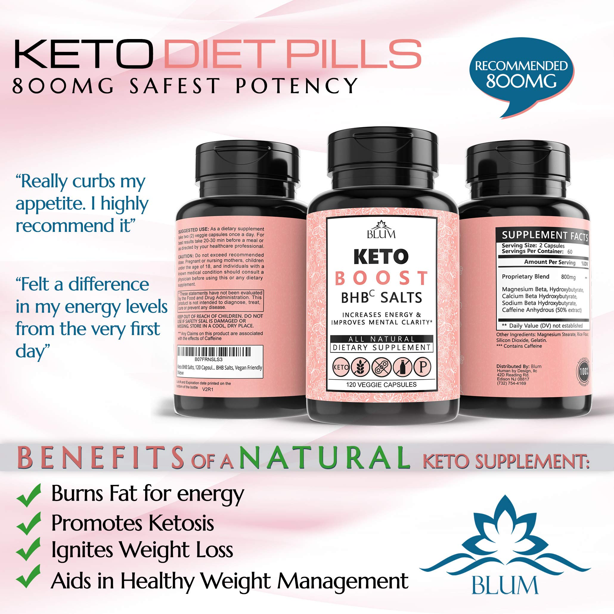 Keto Pills Weight Loss Supplements Keto Diet Pills for Ketosis | Advanced BHB Exogenous Ketones 800mg Capsules for Rapid Fat Burn, Suppress Appetite, Increase Metabolism, Energy and Mental Focus 120ct by Ovillow (Image #4)