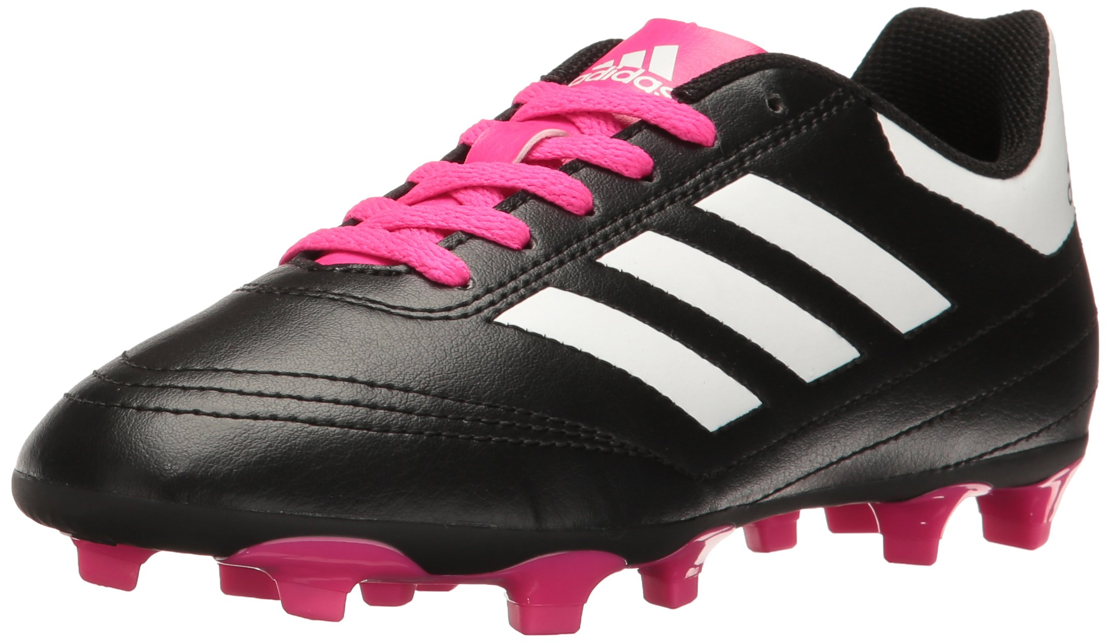 adidas Performance Kids' Goletto VI J Firm Ground Soccer Cleats, Black/White/Shock Pink, 3 Medium US Little Kid
