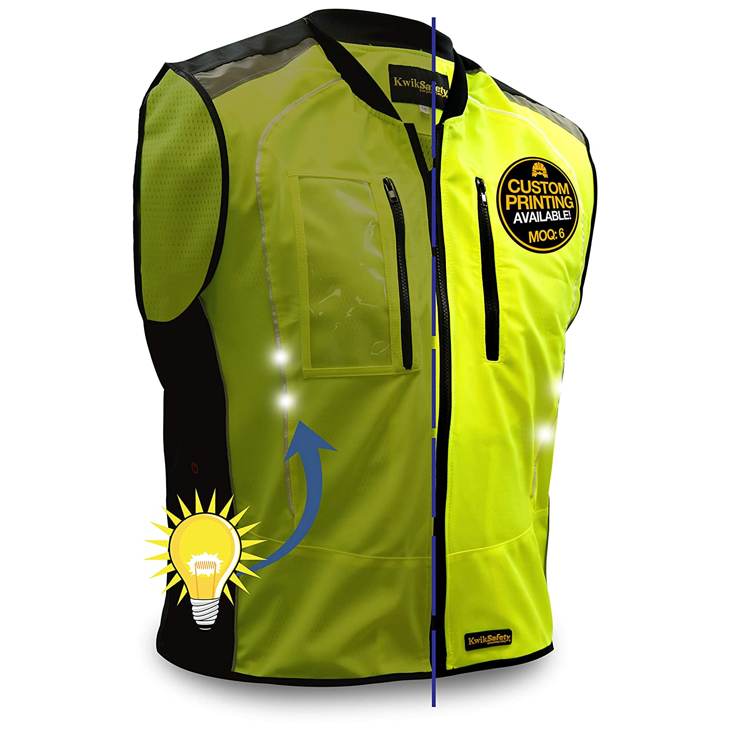 KwikSafety Motorcycle Vest With LED For Running Cycling犬ウォーキング、高い可視性と防水反射バイクギア、サイクリング安全服、電話ポケット& ID、山、メンズ&レディース Large / X-Large イエロー B01N950V7B  Large / X-Large