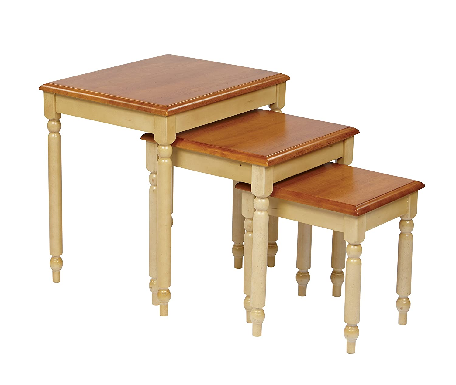 Amazon.com: Office Star Country Cottage Collection 3 Set Nesting Side Tables  In Buttermilk And Cherry Finish: Kitchen U0026 Dining