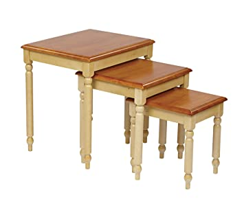 Office Star Country Cottage Collection 3 Set Nesting Side Tables In  Buttermilk And Cherry Finish