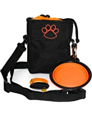 Pawzitive Petz Dog Treat Pouch Bag, Dog Walking Bag or Puppy Training Bag, Collapsible Travel Food Water Pet Bowl, Free DogTraining Clicker