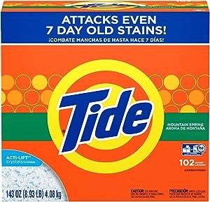 Tide Powder Laundry Detergent, Mountain Spring, 102 Loads 143 oz