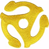 """Yellow Record Adapter - 3"""" Round - Embroidered Iron On or Sew On Patch"""