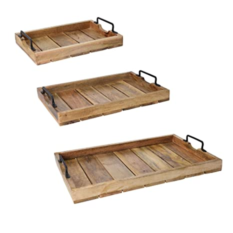 Bandeja de madera de nogal español con asas de acero inoxidable