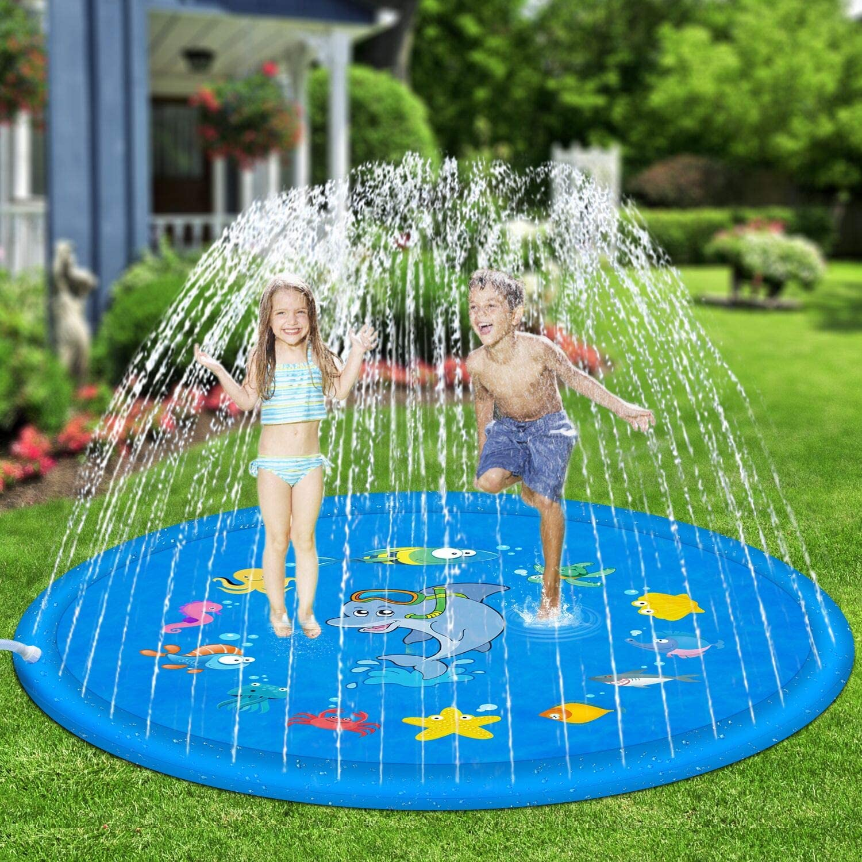 "Hotdor Sprinkle & Splash Play Mat 68"" Sprinkler for Kids Outdoor Water Toys for 3-12 Year Old Boys Girls Children Outdoor Party Sprinkler Toy Splash Pad"