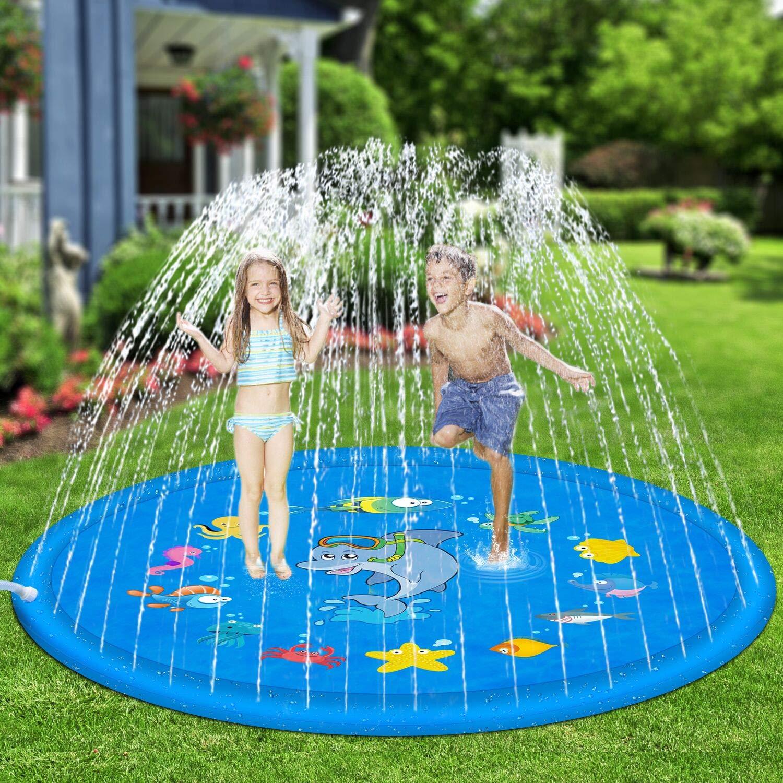 Hotdor Sprinkle & Splash Play Mat 68'' Sprinkler for Kids Outdoor Water Toys for 3-12 Year Old Boys Girls Children Outdoor Party Sprinkler Toy Splash Pad by Hotdor