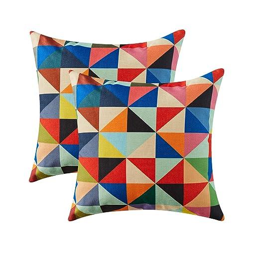 Topfinel Colorido geométrico algodón Lino Fundas de cojín para ...