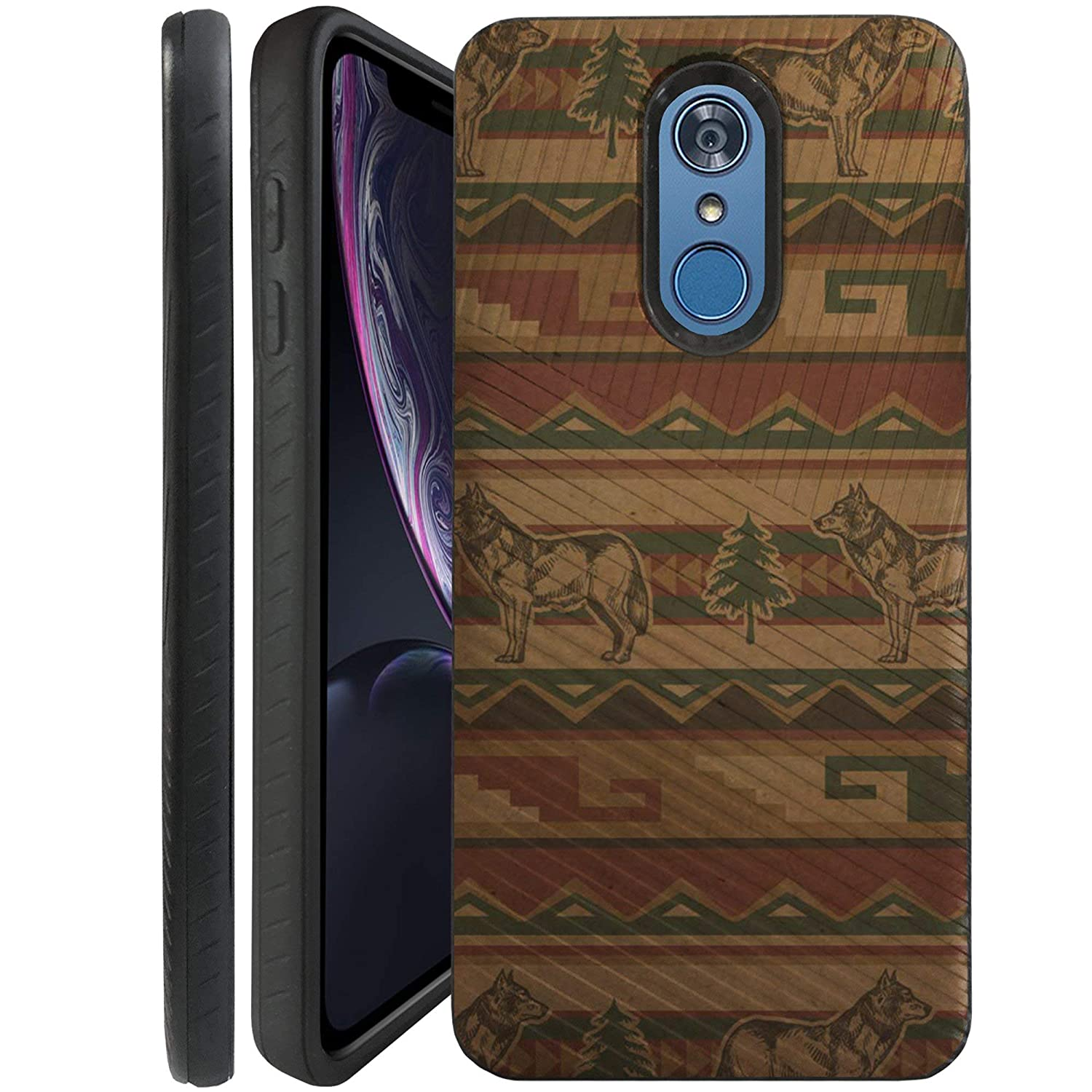 CasesOnDeck Case Compatible with [LG Q7 | LG Q7+] LG Q7 Plus Case, Dual Layer Hybrid Combat Shock Shell Embossed Strip Case Cover (Wolf Chevron)