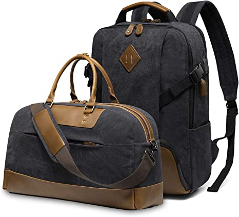 Amazon Com Kasqo Vintage Canvas Backpack And Canvas Duffle Bag Computers Accessories