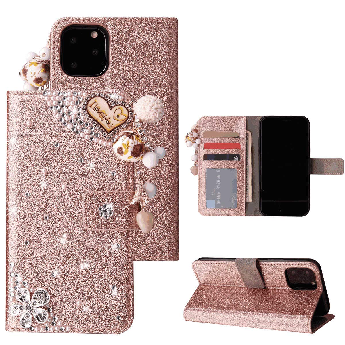 iPhone 11 Pro Flip Case Cover for Leather Card Holders Cell Phone Cover Luxury Business Kickstand Flip Cover