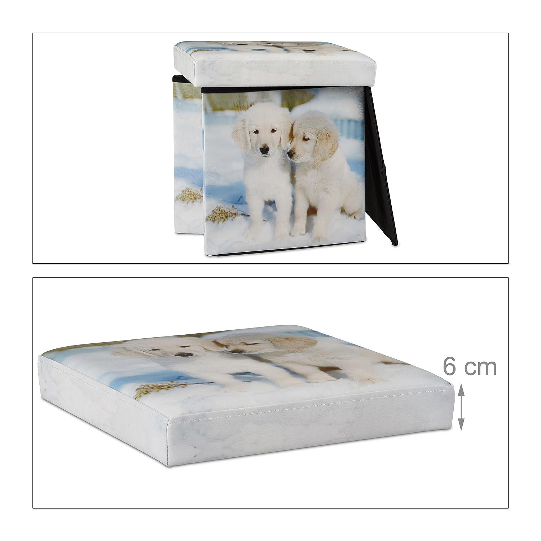 faltbarer Sitzw/ürfel HBT: 38 x 38 x 38 cm Relaxdays Sitzhocker mit Stauraum bunt Aufbewahrungsbox mit Hunde Motiv