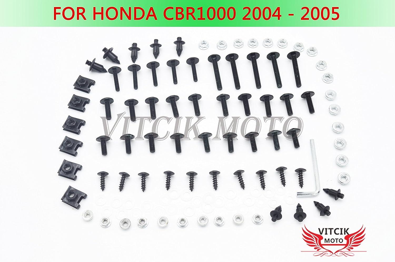 VITCIK Kit completo di carenatura viti bulloni per Honda CBR 1000 RR 2004 2005 CBR 1000 RR 04 05 Serraggio per moto, clip in alluminio CNC (Rosso & Argento)