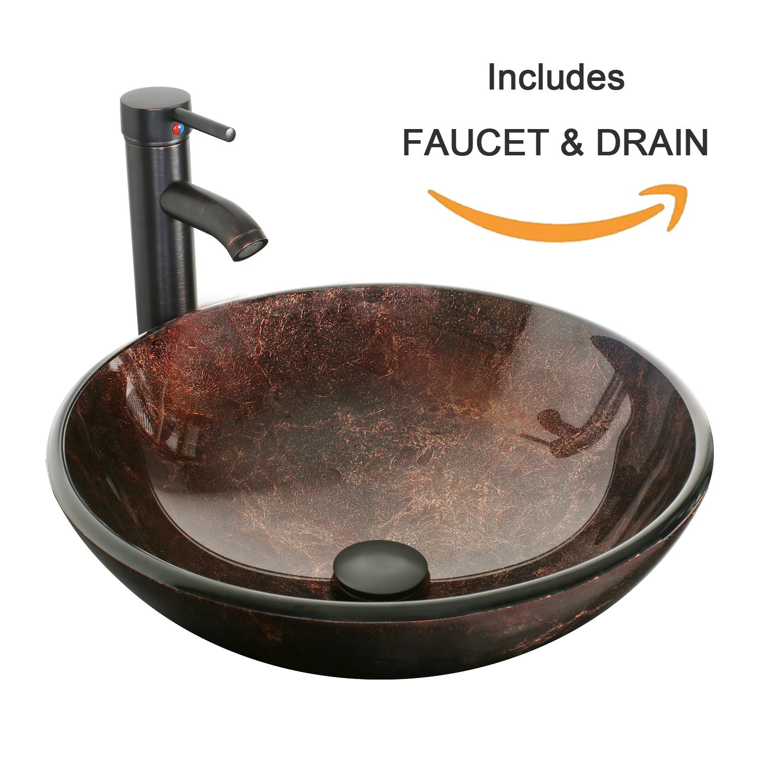 eclife Bathroom Modern Artistic Vessel Sink Combo Modern Round Tempered Glass Basin Oil Rubbed Bronze 1.5 GPM Water Save Faucet Pop Up Drain A09