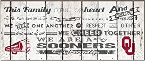 "KH Sports Fan 18"" x 7"" Oklahoma Sooners Family Cheer Small Weathered Collage Plaque"