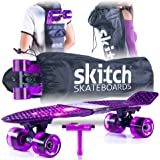 "Skitch Premium Skateboard Gift Set for All Ages + Complete 22"" Mini Cruiser + Board Backpack + Skate Tool + Tote Bag"